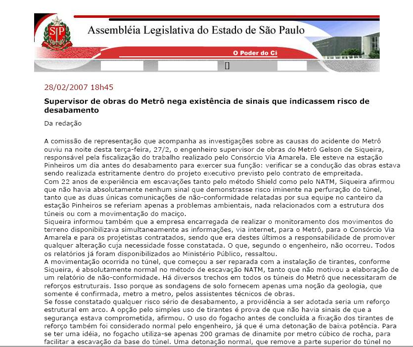 Supervisor de Obras do Metrô Nega Existência de Sinais que Indicassem Risco de Desabamento - Fevereiro/2007