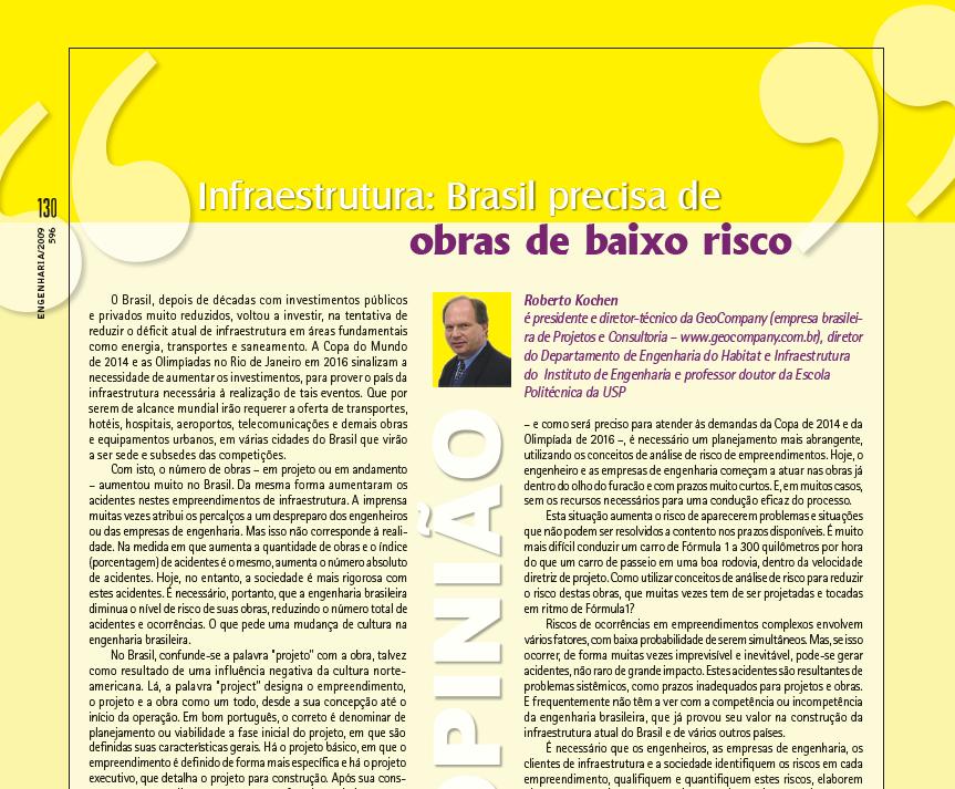 Infraestrutura: Brasil Precisa de Obras de Baixo Risco - Maio/2009