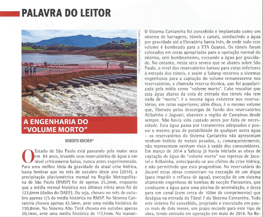 """Revista Engenharia - A Engenharia do """"Volume Morto"""" - Setembro/2014"""