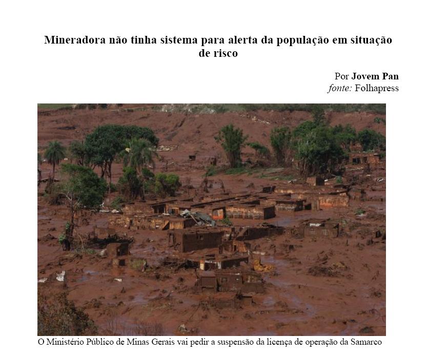 Mineradora Não Tinha Sistema para Alerta da População em Situação de Risco – Novembro/2015