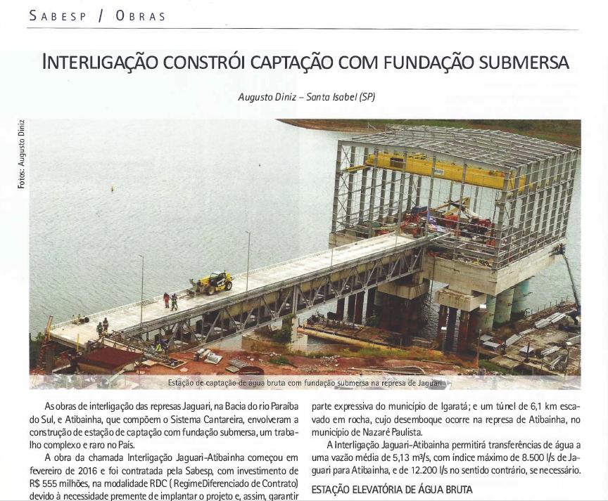 Interligação Constrói Captação Com Fundação Submersa - Dezembro/2017
