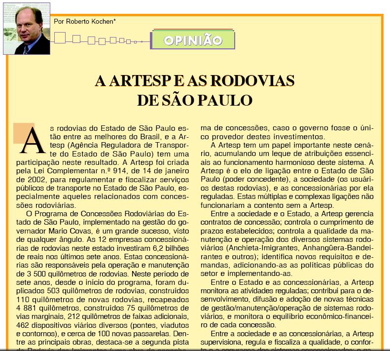 A ARTESP e as Rodovias de São Paulo - Abril/2005