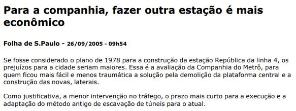 Para a companhia, fazer outra estação é mais econômico - Folha de S.Paulo – 26/09/2005 – 09h54